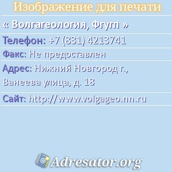Волгагеология, Фгугп по адресу: Нижний Новгород г., Ванеева улица, д. 18
