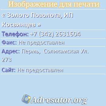 Золото Позолота, ИП Косвинцев по адресу: Пермь,  Соликамская Ул. 273