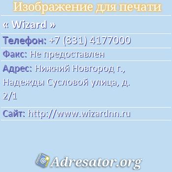 Wizard по адресу: Нижний Новгород г., Надежды Сусловой улица, д. 2/1