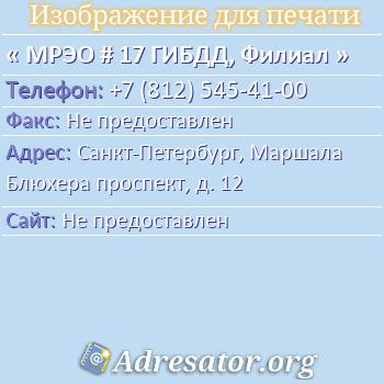 МРЭО # 17 ГИБДД, Филиал по адресу: Санкт-Петербург, Маршала Блюхера проспект, д. 12
