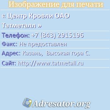 Центр Кровли ОАО Татметалл по адресу: Казань,  Высокая гора С.
