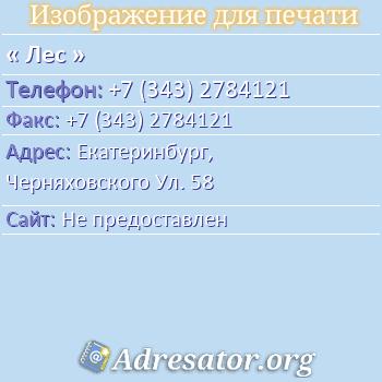 Лес по адресу: Екатеринбург,  Черняховского Ул. 58