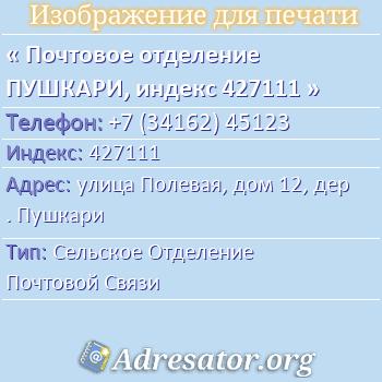 Почтовое отделение ПУШКАРИ, индекс 427111 по адресу: улицаПолевая,дом12,дер. Пушкари