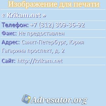 Krikam.net по адресу: Санкт-Петербург, Юрия Гагарина проспект, д. 2
