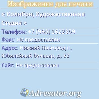 Колибри, Художественная Студия по адресу: Нижний Новгород г., Юбилейный бульвар, д. 32