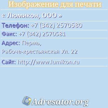 Люмикон, ООО по адресу: Пермь,  Рабоче-крестьянская Ул. 22