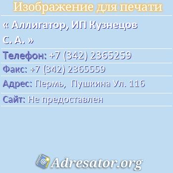 Аллигатор, ИП Кузнецов С. А. по адресу: Пермь,  Пушкина Ул. 116