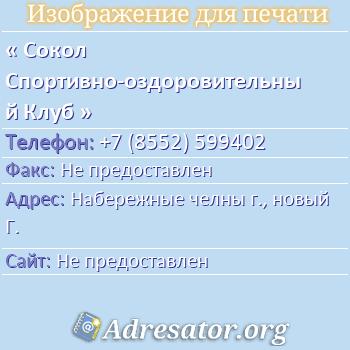 Сокол Спортивно-оздоровительный Клуб по адресу: Набережные челны г., новый Г.