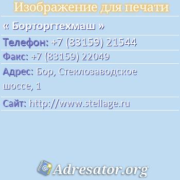 Борторгтехмаш по адресу: Бор, Стеклозаводское шоссе, 1