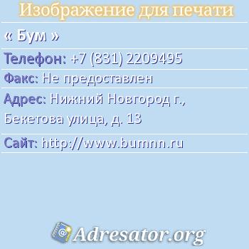 Бум по адресу: Нижний Новгород г., Бекетова улица, д. 13