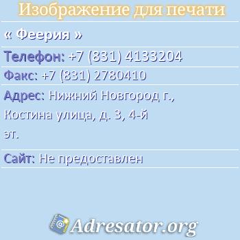 Феерия по адресу: Нижний Новгород г., Костина улица, д. 3, 4-й эт.