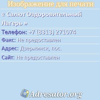 Салют Оздоровительный Лагерь по адресу: Дзержинск, пос.