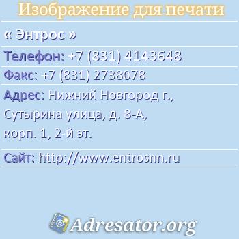 Энтрос по адресу: Нижний Новгород г., Сутырина улица, д. 8-А, корп. 1, 2-й эт.