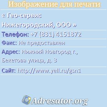 Гео-сервис Нижегородский, ООО по адресу: Нижний Новгород г., Бекетова улица, д. 3