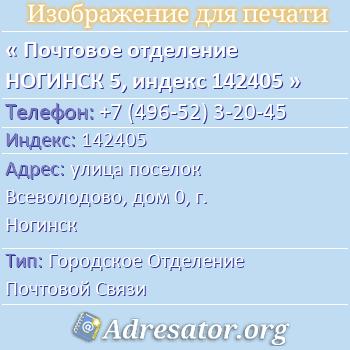 Почтовое отделение НОГИНСК 5, индекс 142405 по адресу: улицапоселок Всеволодово,дом0,г. Ногинск
