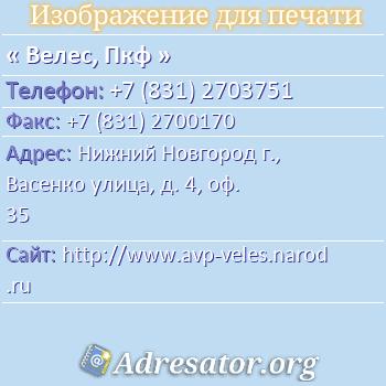 Велес, Пкф по адресу: Нижний Новгород г., Васенко улица, д. 4, оф. 35