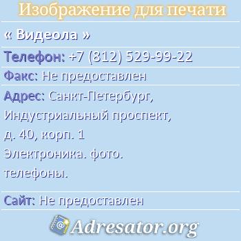 Видеола по адресу: Санкт-Петербург, Индустриальный проспект, д. 40, корп. 1 Электроника. фото. телефоны.