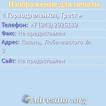 Горводзеленхоз, Трест по адресу: Казань,  Лобачевского Ул. 3
