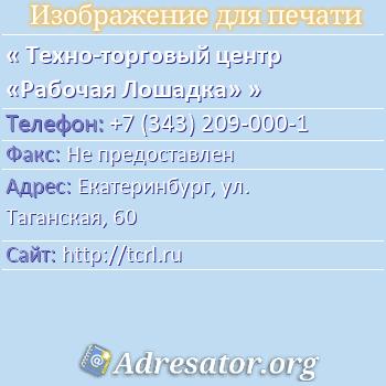 Техно-торговый центр «Рабочая Лошадка» по адресу: Екатеринбург, ул. Таганская, 60