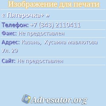 Пятерочка+ по адресу: Казань,  Хусаина мавлютова Ул. 29