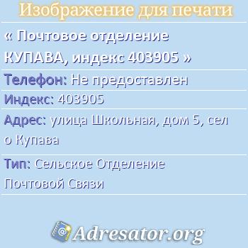 Почтовое отделение КУПАВА, индекс 403905 по адресу: улицаШкольная,дом5,село Купава