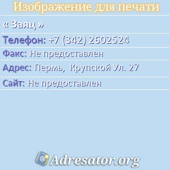 Заяц по адресу: Пермь,  Крупской Ул. 27