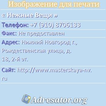 Нежные Вещи по адресу: Нижний Новгород г., Рождественская улица, д. 18, 2-й эт.