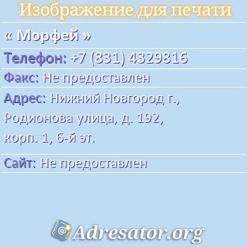 Морфей по адресу: Нижний Новгород г., Родионова улица, д. 192, корп. 1, 6-й эт.