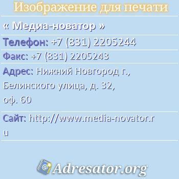 Медиа-новатор по адресу: Нижний Новгород г., Белинского улица, д. 32, оф. 60
