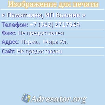 Памятники, ИП Вьюник по адресу: Пермь,  Мира Ул.