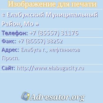 Елабужский Муниципальный Район, Мо по адресу: Елабуга г., нефтяников Просп.