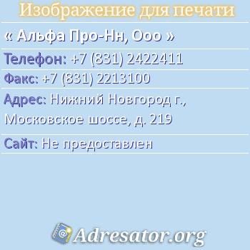 Альфа Про-НН, ООО по адресу: Нижний Новгород г., Московское шоссе, д. 219