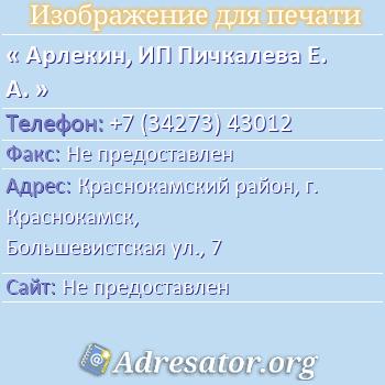 Арлекин, ИП Пичкалева Е. А. по адресу: Краснокамский район, г. Краснокамск, Большевистская ул., 7