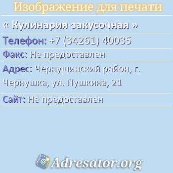 Кулинария-закусочная по адресу: Чернушинский район, г. Чернушка, ул. Пушкина, 21