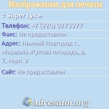 Super Lyx по адресу: Нижний Новгород г., Маршала Жукова площадь, д. 7, корп. 2