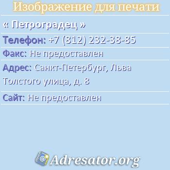 Петроградец по адресу: Санкт-Петербург, Льва Толстого улица, д. 8