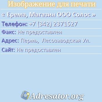 Ерема, Магазин ООО Солос по адресу: Пермь,  Лесозаводская Ул.