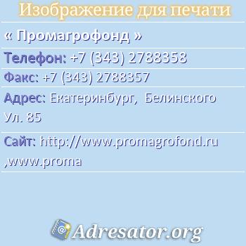 Промагрофонд по адресу: Екатеринбург,  Белинского Ул. 85