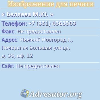Беляева М.Ю. по адресу: Нижний Новгород г., Печерская Большая улица, д. 30, оф. 12