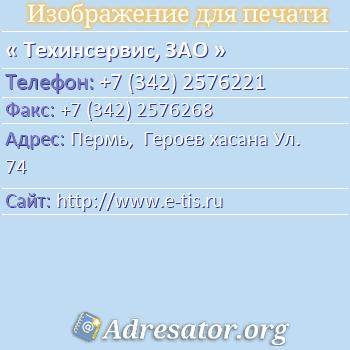 Техинсервис, ЗАО по адресу: Пермь,  Героев хасана Ул. 74
