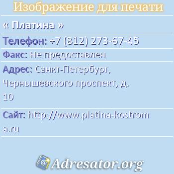 Платина по адресу: Санкт-Петербург, Чернышевского проспект, д. 10