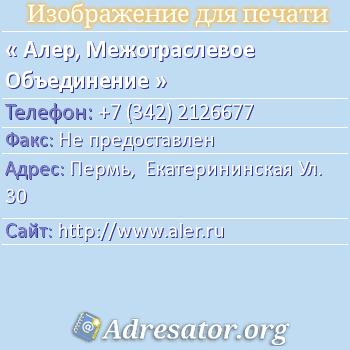 Алер, Межотраслевое Объединение по адресу: Пермь,  Екатерининская Ул. 30
